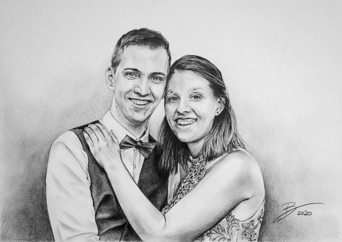 """Portrait """"Philipp & Sabrina"""" - DIN A3 - Graphitstift auf Papier"""