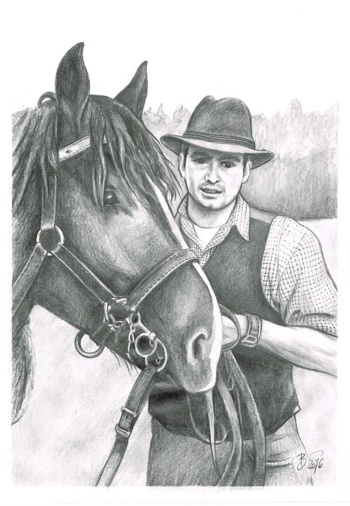 Mann mit Pferd - DIN A3 - Graphitstift auf Papier