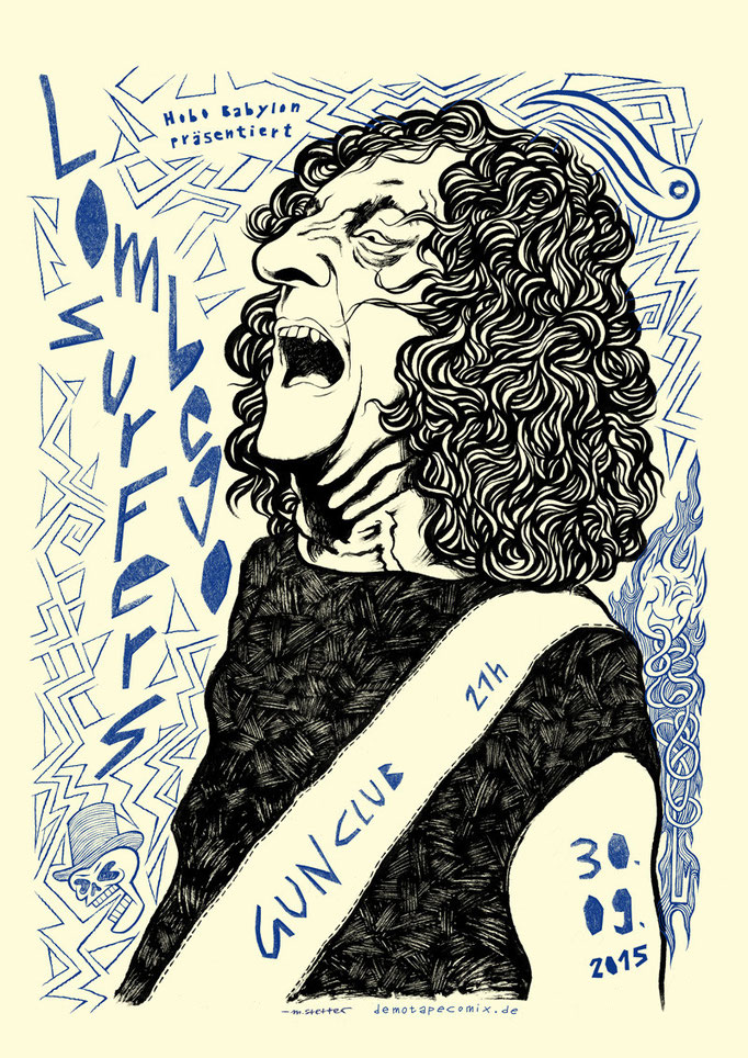 Konzertplakat / Flyer-Illustration für das Konzert der Rock'n'Roll-Band Lombego Surfers im Gun Club, Hamburg. © 2015 Moritz Stetter