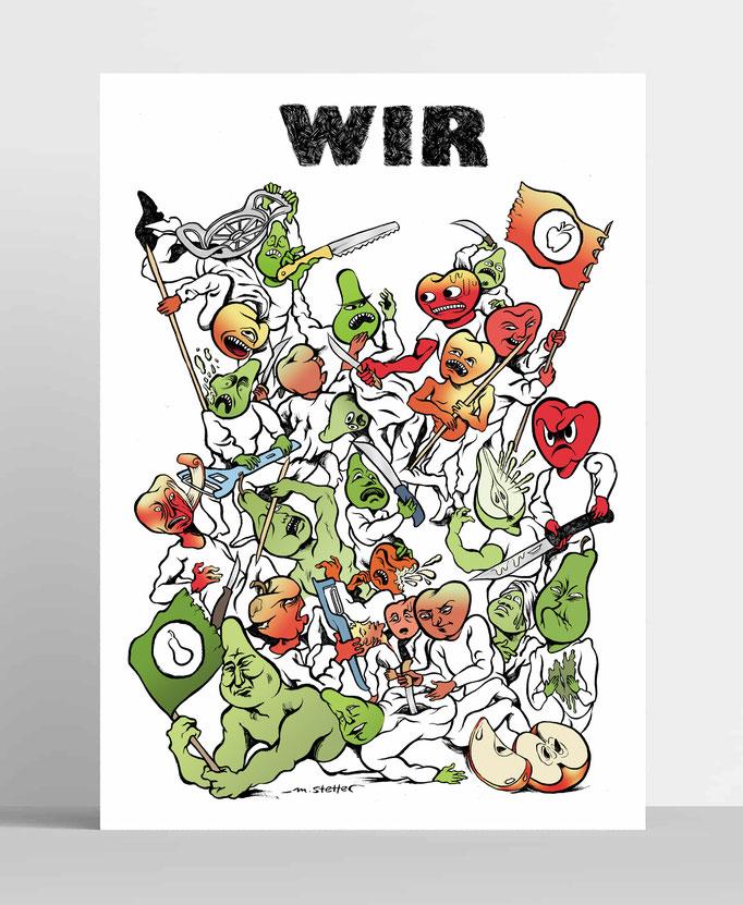 """""""WIR"""" - Illustration für das READ Magazin, auch als limitierter Druck erschienen."""