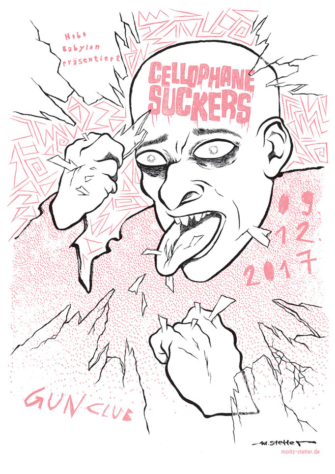 Konzertplakat / Flyer Illustration für die Garagenpunkband Cellophane Suckers © 2017 Moritz Stetter