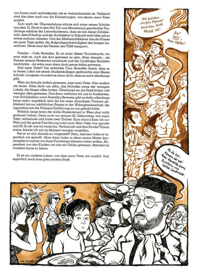 Illustrationen zu einem Text von Jakob Arnim-Ellissen über Generationskonflikte und die Stadt Wien. Erschienen im READ-Magazin #16. © 2015 Moritz Stetter