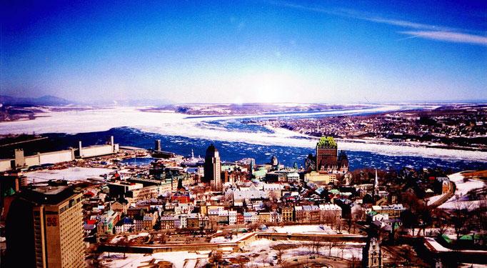 Vue aérienne de Québec, Fleuve Saint-Laurent, Québec, Canada
