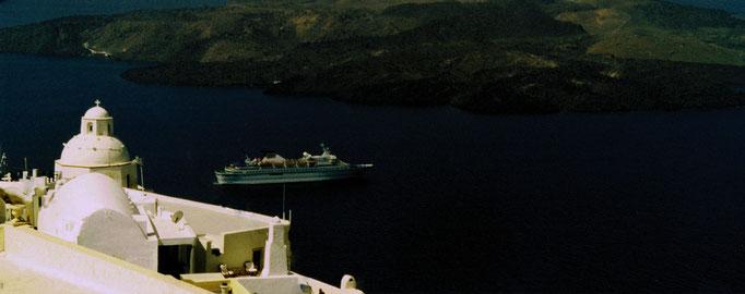 Vue panoramique, vue sur la mer Egée, Santorin, Grèce
