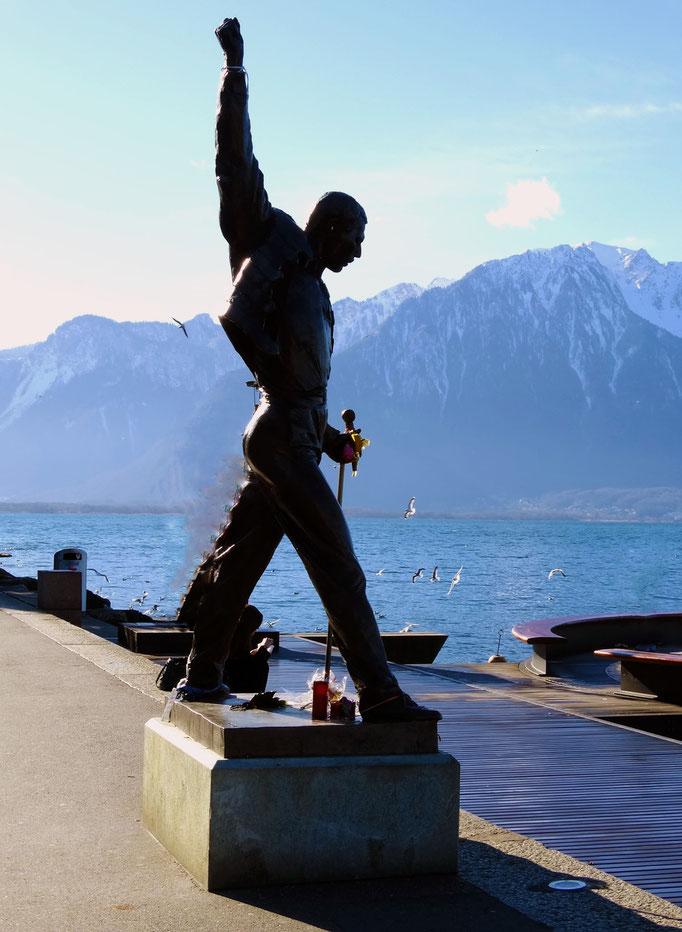 Statue, Lac Léman, Montreux, Suisse