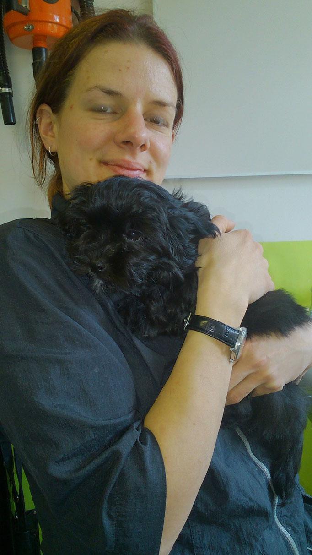 "... bei ""Tante"" Sabine, meine Hunde-Friseurin ... 12,5 Wo"