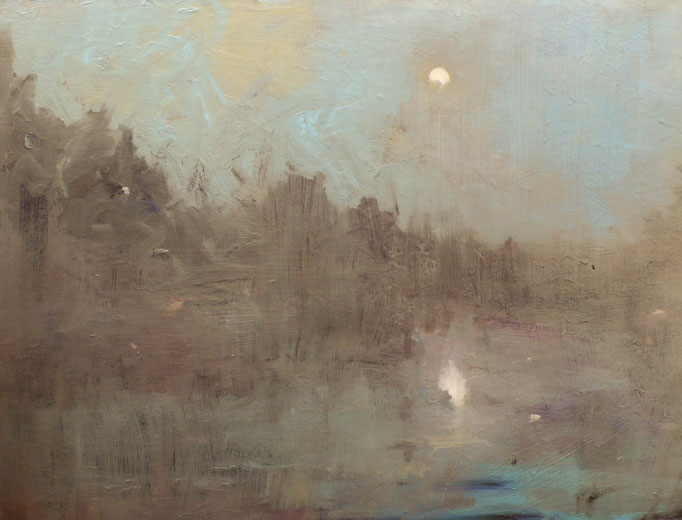 Moon with Mist Over The James-48x36