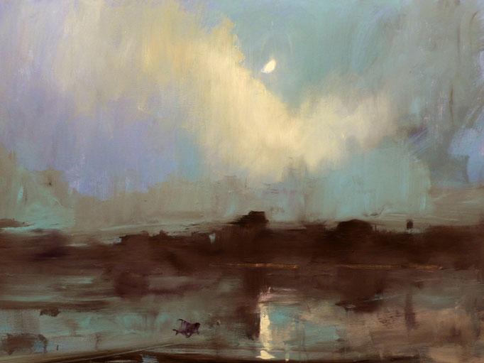 Moon Over Dundalk Harbor-40x30