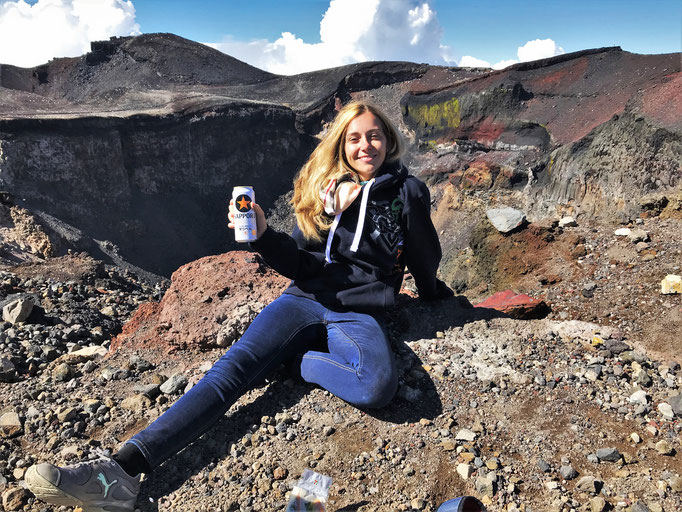 Me with a beer at the top of Mt Fuji!