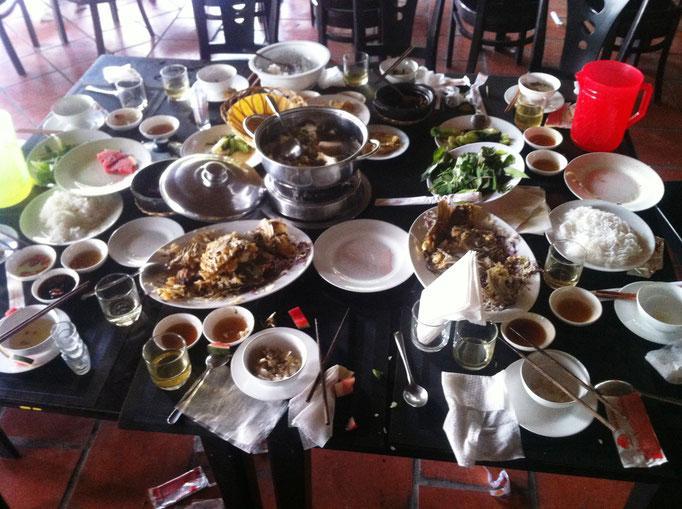 Nach dem Einfall einer Tourismusgruppe in einem Restaurant im Mekong-Delta