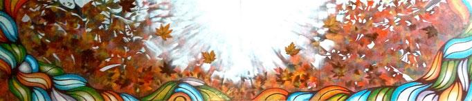 日本テレビ「のどじまんザワールド」2013年秋ver. 番組セットパネル画 w5400xH1200mm Artwork by Xola
