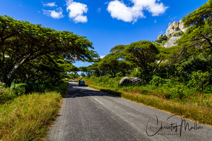 The road form Harare to Mutare. Despite the desolate situation in Zimbabwe many main roads are surprisingly in a good condition.