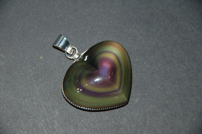 Pendentif Obsidienne Œil Céleste en Cœur