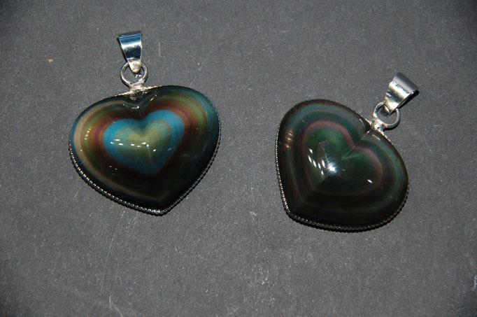Pendentifs Obsidienne Œil Céleste en Cœur