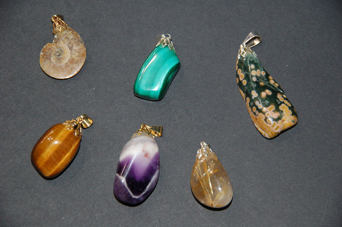 Ammonite - Malachite - Jaspe Orbiculaire - Œil de Tigre - Améthyste - Quartz Rutile