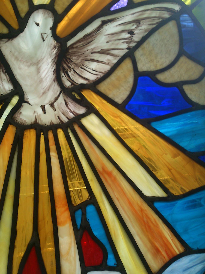 Espíritu Santo, Vitral Religioso, emplomado y grisalla. Chontla Veracruz, Parroquia 2014
