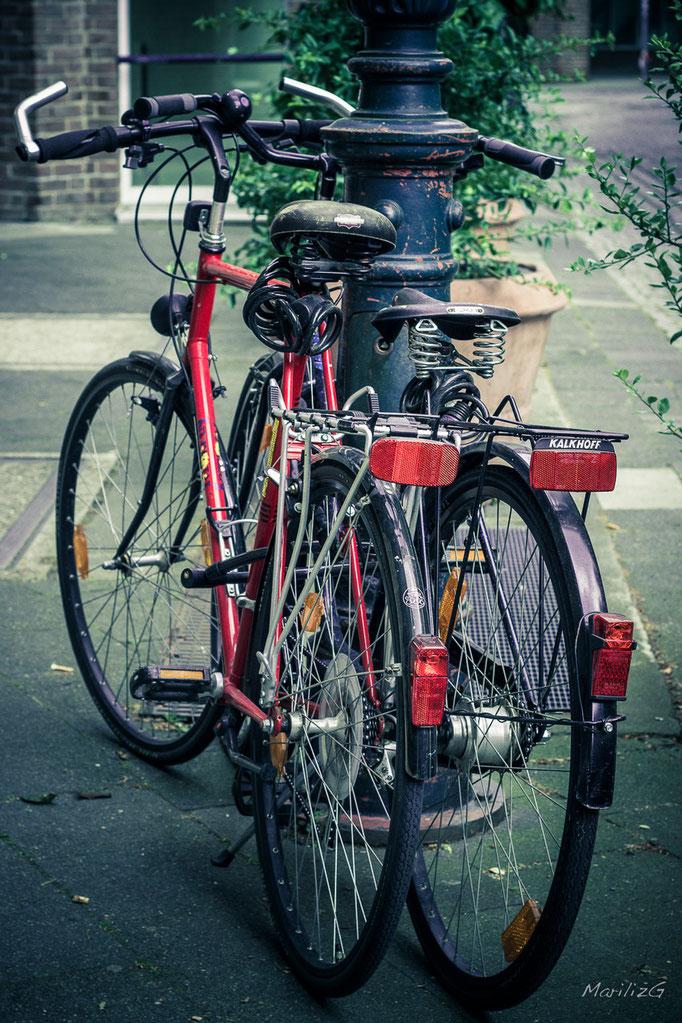 Dans la vieille ville, vélos amoureux...