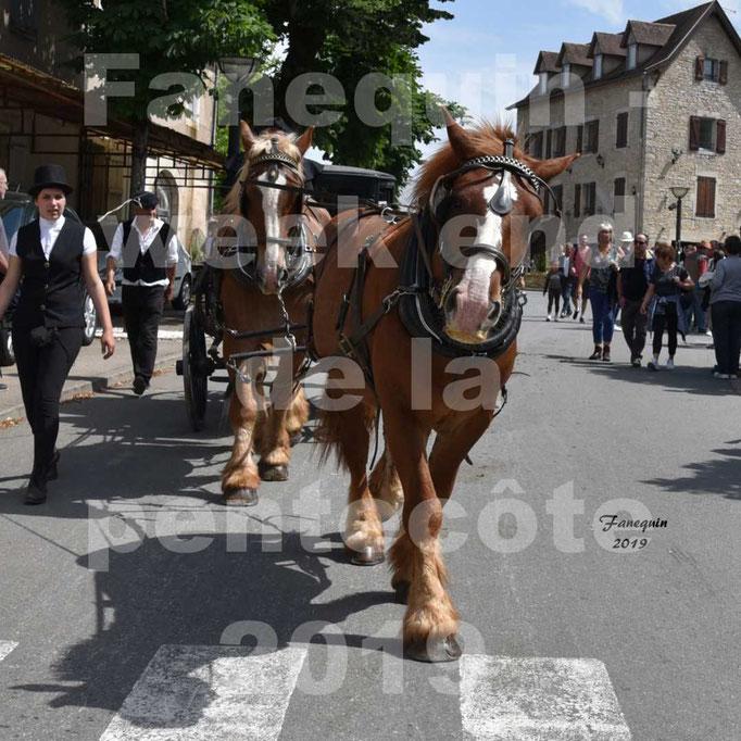 Défilé de calèches anciennes dans les rues de Villeneuve d'Aveyron  le 09 Juin 2019 - Chevaux en tandem