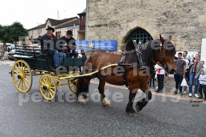 Défilé de calèches anciennes dans les rues de Villeneuve d'Aveyron  le 09 Juin 2019 - Cheval de trait & calèche 4 roues
