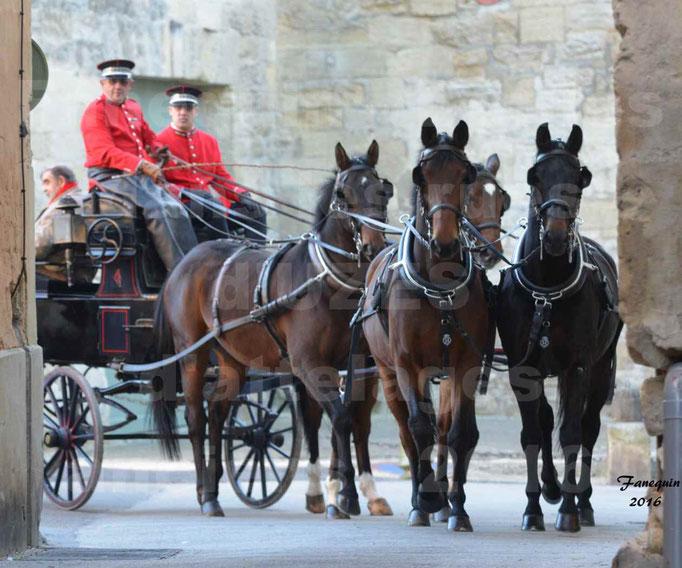 Défilé dans les rue d'UZES de calèches anciennes - attelage team (4 chevaux légers)