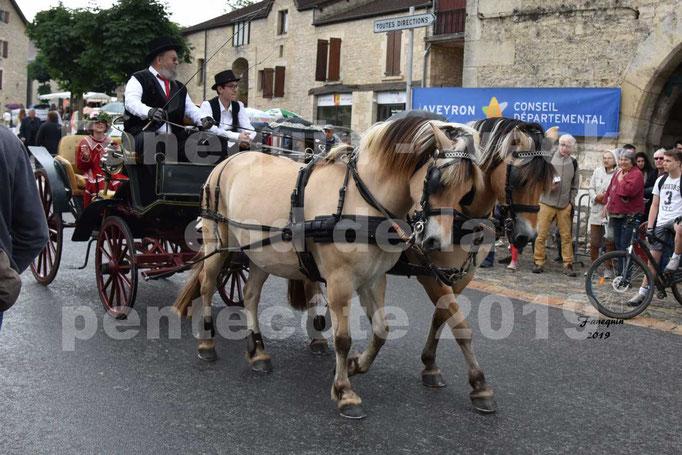 Défilé de calèches anciennes dans les rues de Villeneuve d'Aveyron  le 09 Juin 2019 - Chevaux en paire
