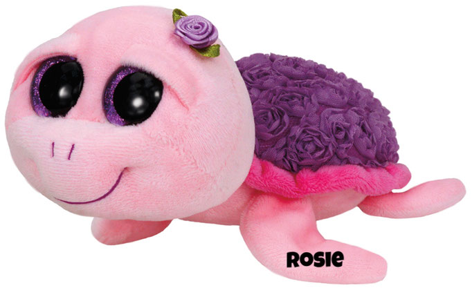 "Rosie is op 4 november jarig. ""I am pink and purple and swim happily / My shell's covered with roses for you to see!"""