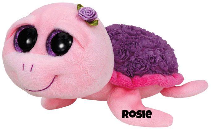"Rosie hat am 4. November Geburtstag. ""I am pink and purple and swim happily / My shell's covered with roses for you to see!"""