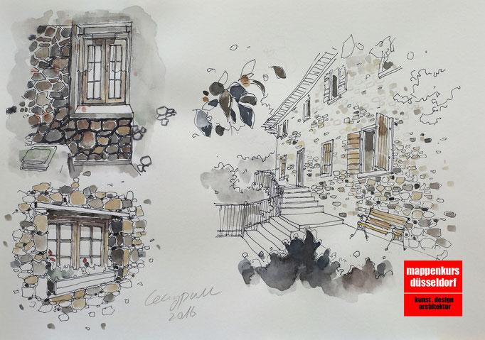 Mappenkurs Architektur, Architekturzeichnen, Architekturstudium HSD, Architekturzeichnen lernen
