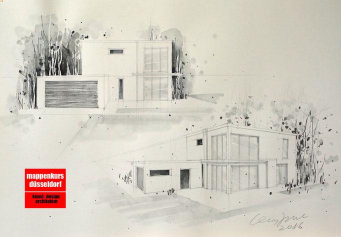Mappenkurs Architektur, Architekturzeichnen, Architekturstudium HSD
