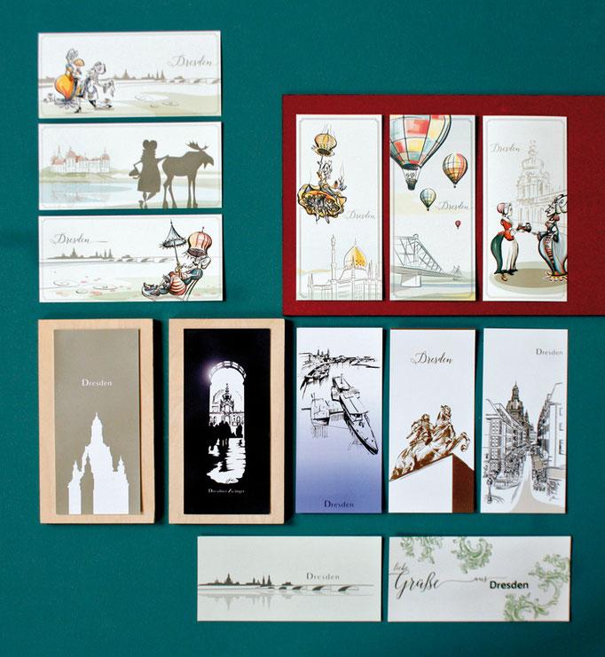 Papeterie beim schneckenpferd. Unsere Dresden-Postkarten.