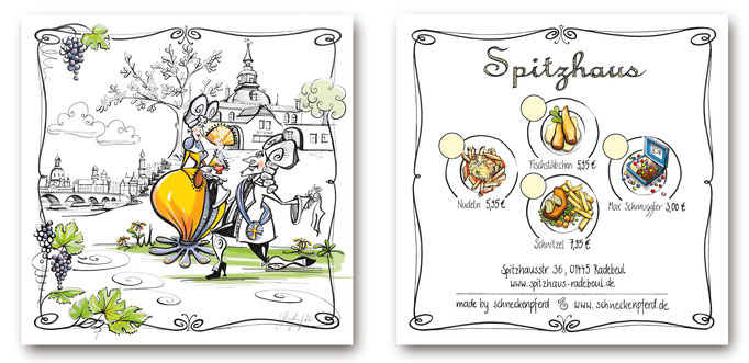 Kinderspeisekarte für das Restaurant Spitzhaus. Stilmix aus der Eleganz des Spitzhauses und schneckenpferds Dresdner Ansichten mit Cosel und August.