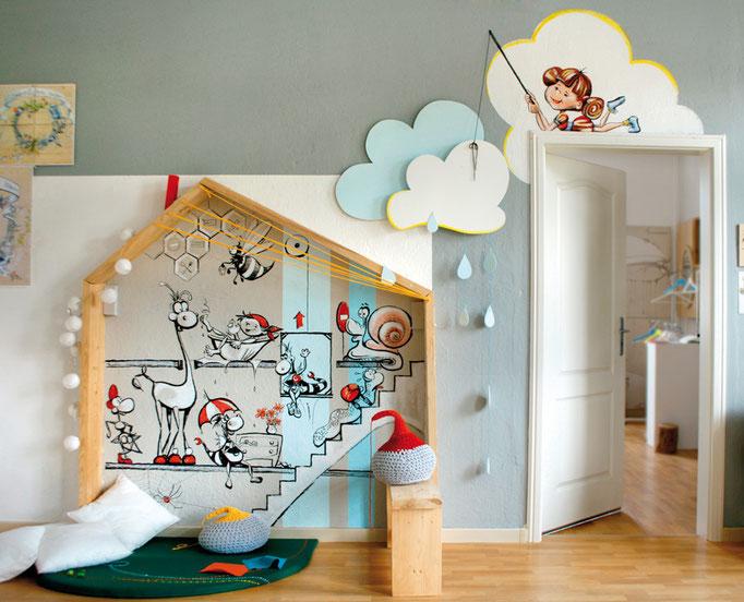 Kids Corner! Wandmalerei/Mural und Zimmerei in der Kinderecke.