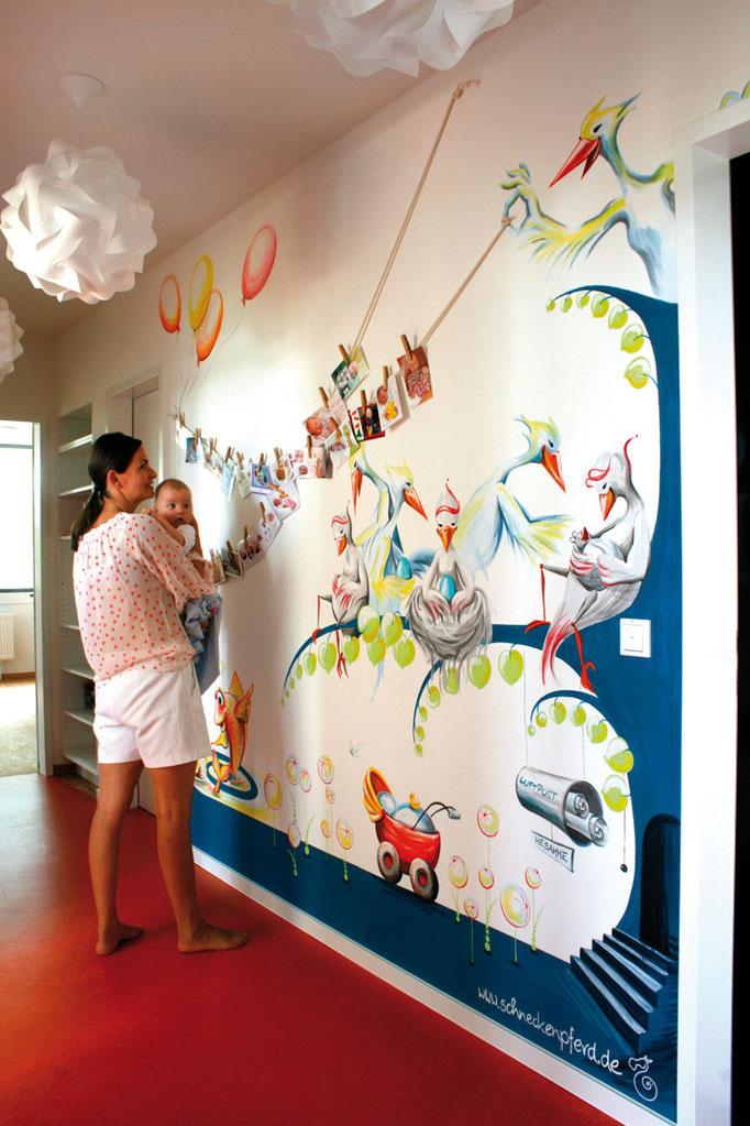 Wandbild/Mural in der Hebammenpraxis.