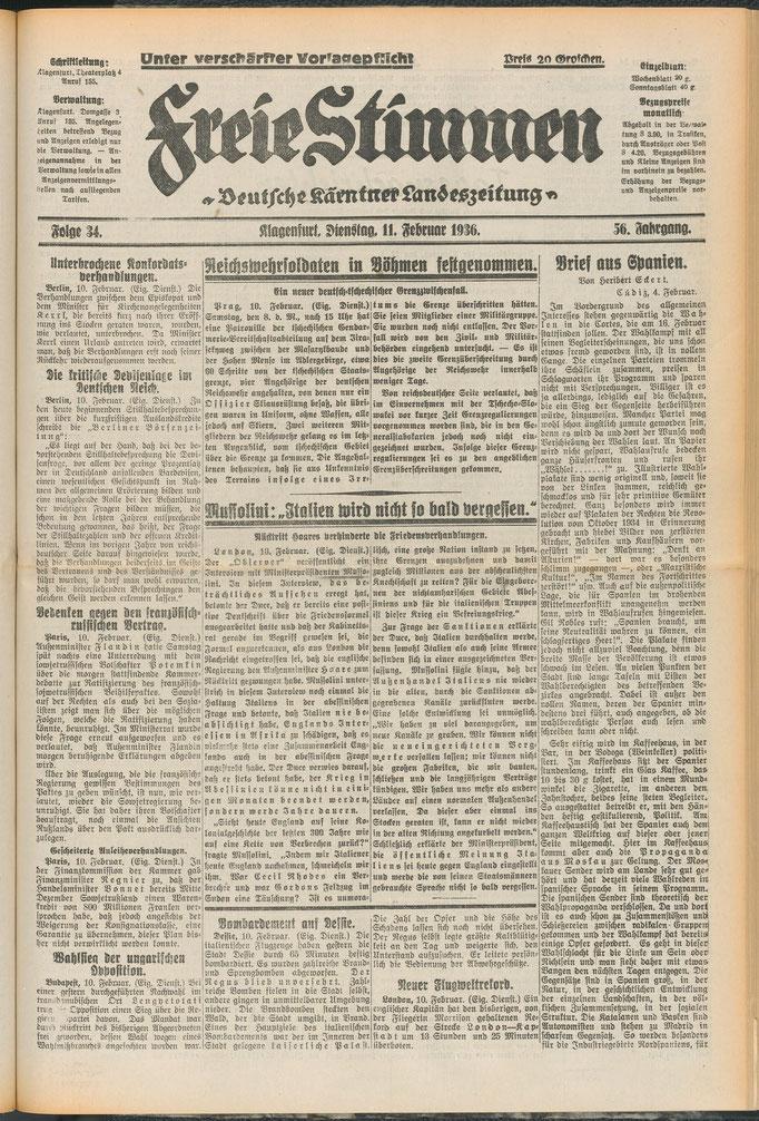 """Titelseite der """"Deutschen Kärntner Landeszeitung - Freie Stimmen"""" vom 12. Februar 1936. Quelle: https://anno.onb.ac.at/cgi-content/anno?aid=fst&datum=19360211&zoom=33"""