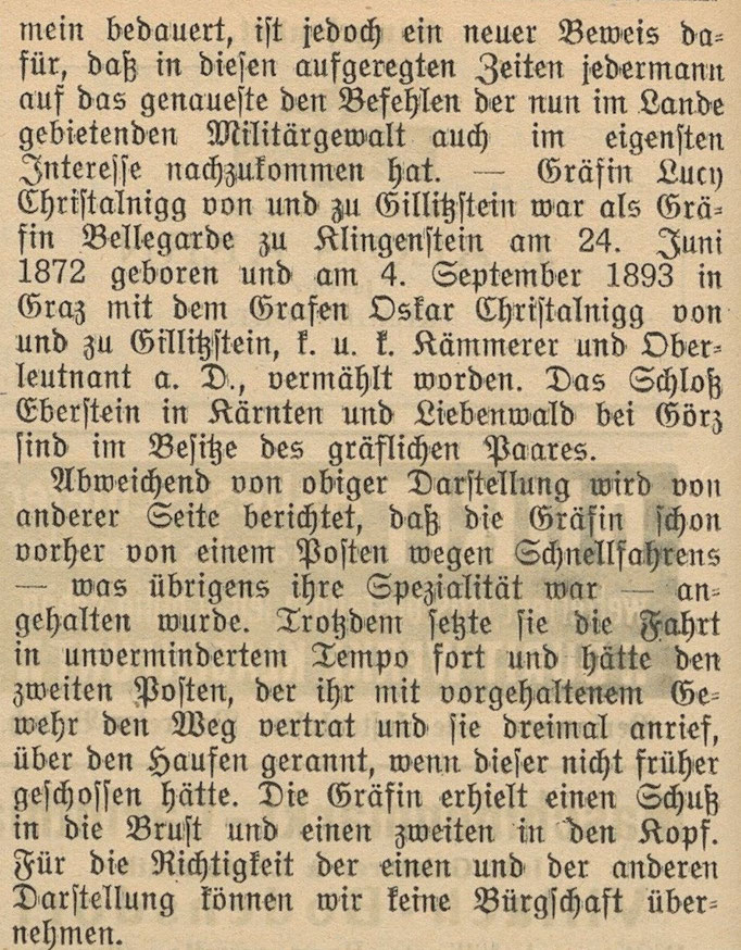 Zeitung Freie Stimmen 15.08.14 Quelle: https://anno.onb.ac.at/cgi-content/anno?aid=fst&datum=19140815&zoom=33&query=%22Lucy%22%2B%22Christalnigg%22&ref=anno-search