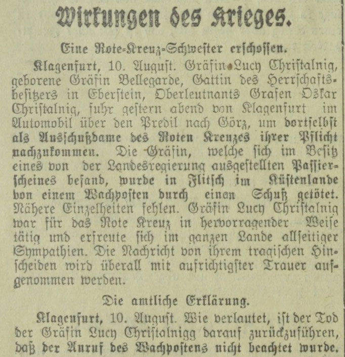 Zeitung Arbeiterwille 11.08.14 Quelle: https://anno.onb.ac.at/cgi-content/anno?aid=awi&datum=19140811&zoom=33&query=%22Lucy%22%2B%22Christalnigg%22&ref=anno-search