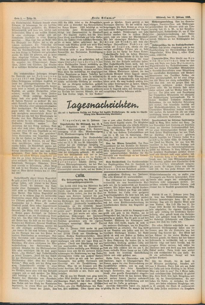 Beginn des Artikels auf der 2. Seite, untere Hälfte. Quelle: https://anno.onb.ac.at/cgi-content/anno?aid=fst&datum=19360211&zoom=33
