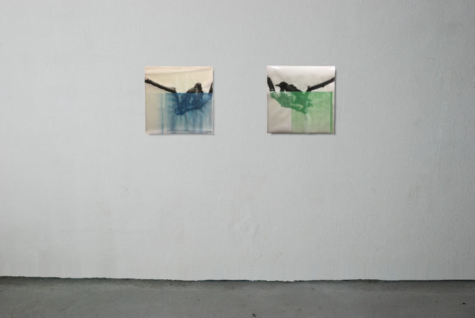 The night throught the day - (left) - 50 cm x 50 cm - Varnisch, pencil, resin transparent on paper__The day throught the night - (right) - 50 cm x 50 cm - Varnisch, pencil, resin transparent on paper.