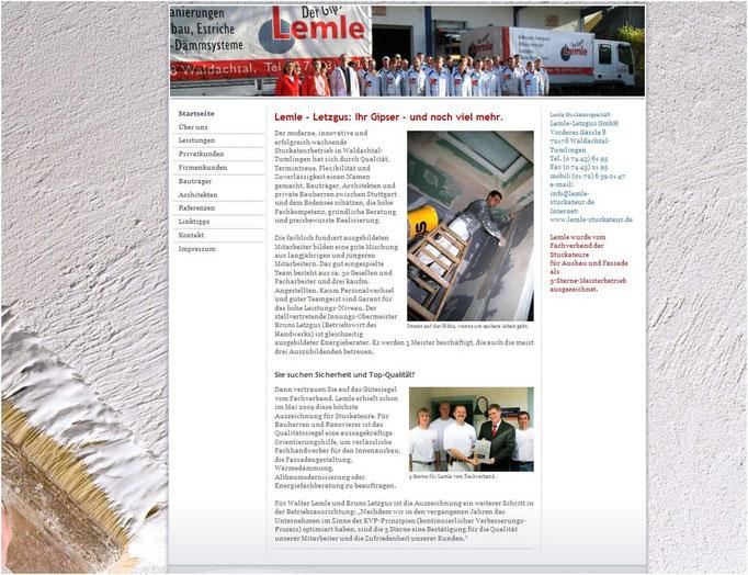 Website für www.lemle-stuckateur.de (mit jimdo erstellt)