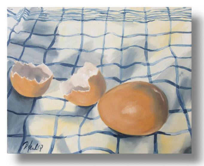 Eier auf dem Küchentuch