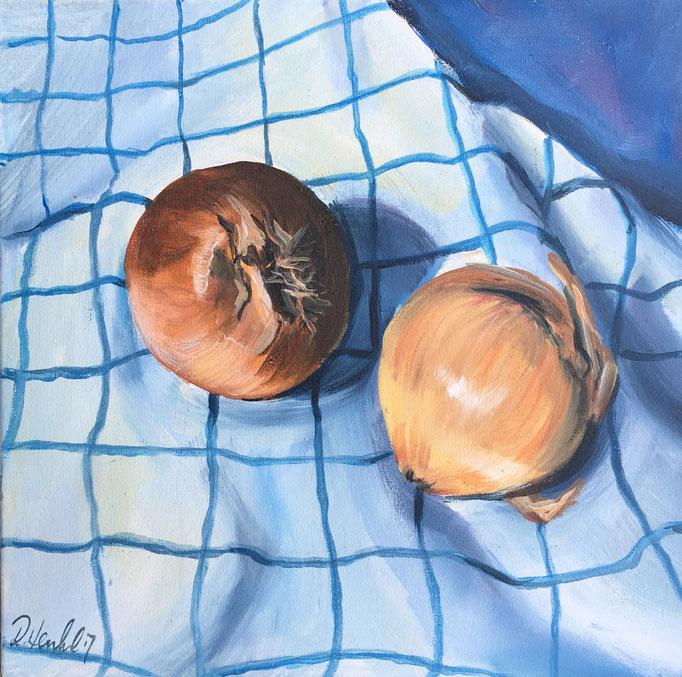 Zwiebeln auf dem Kühentuch 25x25 cm