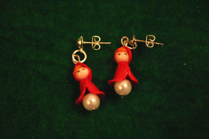 Orecchini Cappuccetto Rosso, miniature - 6€