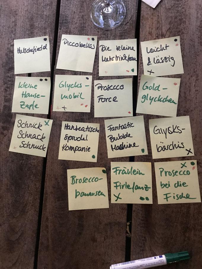 Eine engere Wahl möglicher Namen für das Startup aus Hamburg