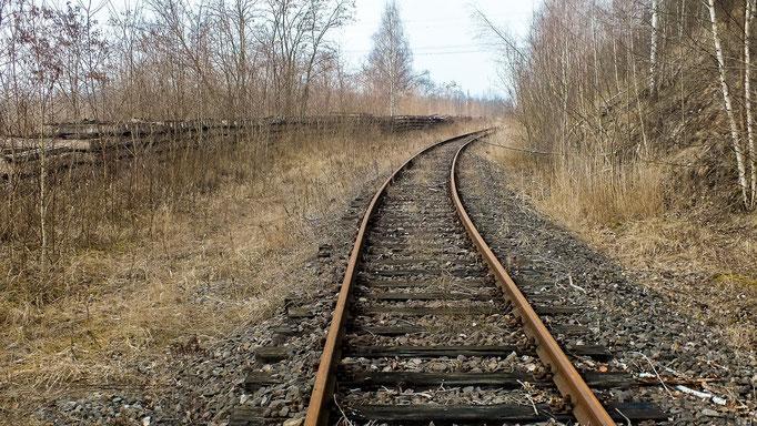 ehemaliges Leergleis in Richtung Tagebau