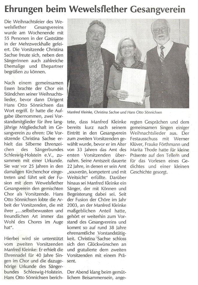 Artikel im Keesblatt vom 23.12.2016