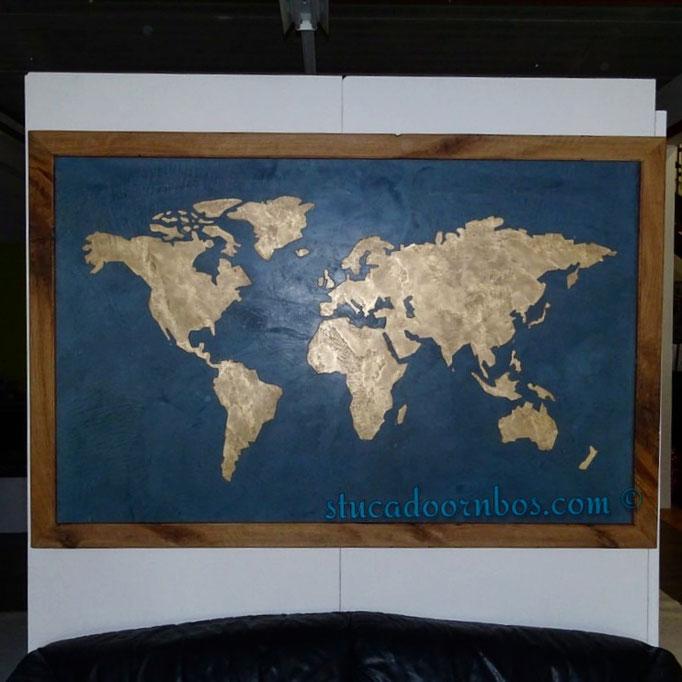 beal mortex wereldkaart met 100 jaar oud eiken lijst