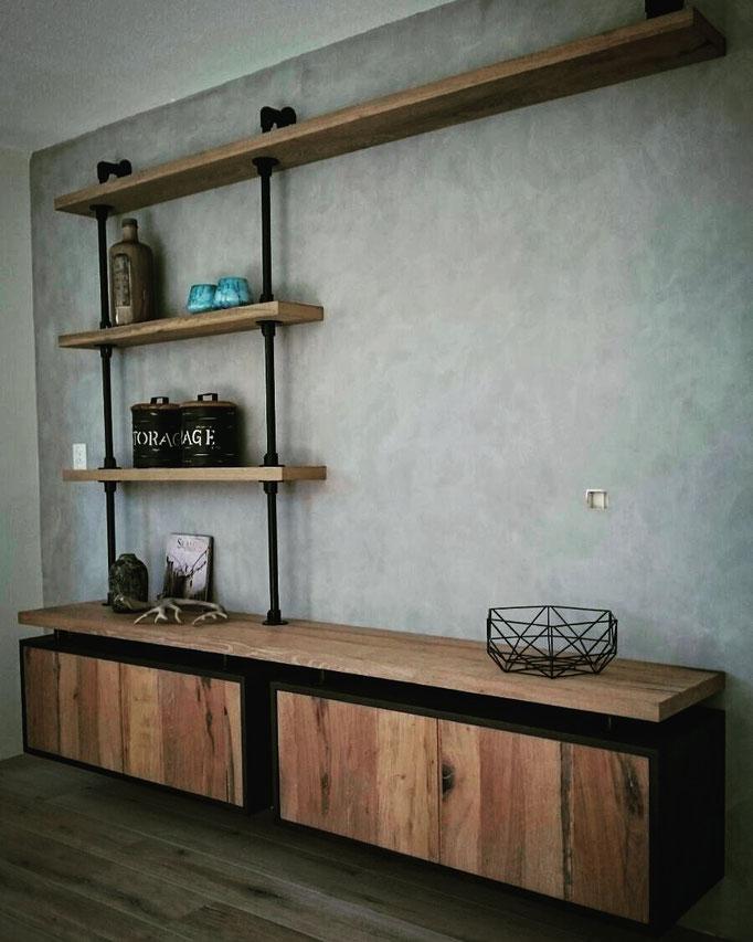 maatwerk meubel met stucco mat achterwand