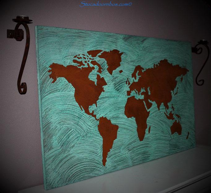 Wereldkaart van koper en pm lissé oxidation