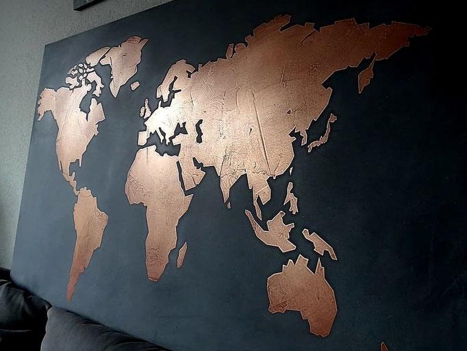 metalsstuc koper wereldkaart