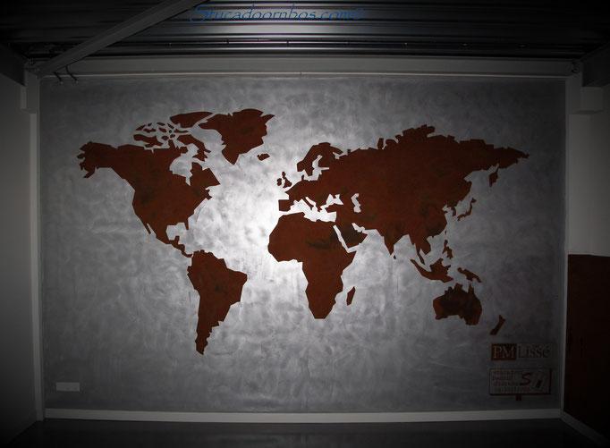 Wereldkaart van oxidation op aluminium ondergrond